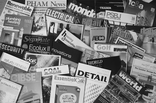 trade press, consumer press, international publications, specialist magazines, technical publications
